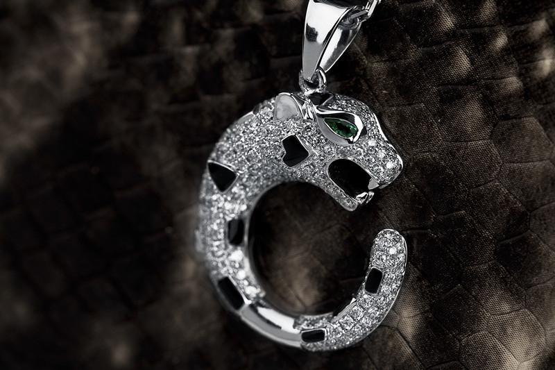 慕蒂卡珠宝  满钻豹头-18K金钻石项链(绿宝石)